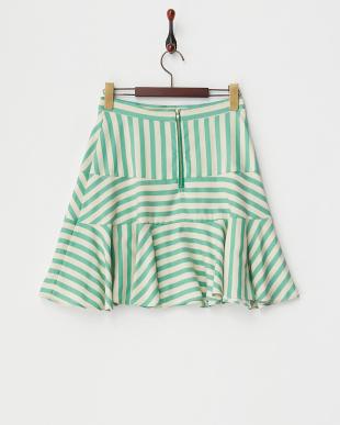 グリーン ボーダー切り替えスカート見る