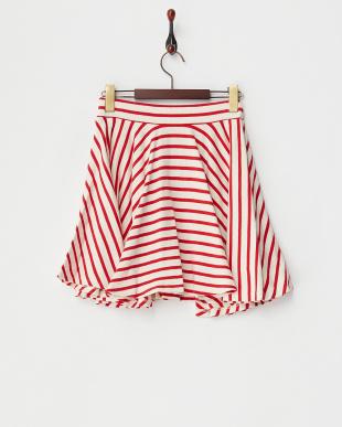 レッド コットンボーダースカート見る
