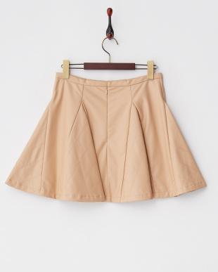ベージュ フェイクレザーフレアスカート見る