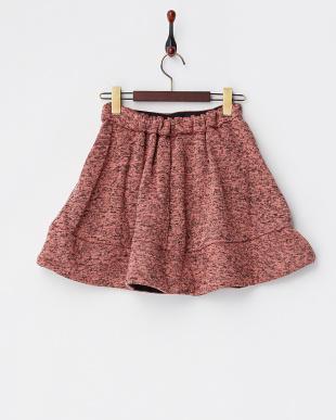 ピンク  裏起毛パンツ付きフレアスカート見る