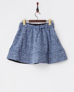 ブルー  裏起毛パンツ付きフレアスカート見る