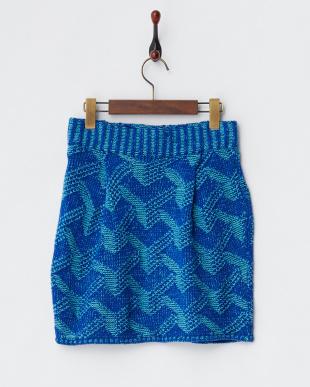 ブルー プレーティングニットスカート見る