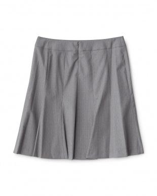 チャコールグレー  ウールシルク混スカート見る