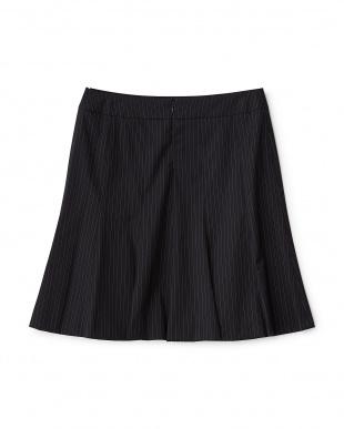 ネイビー  ウールシルク混スカート見る