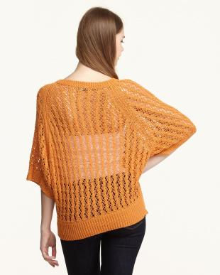 オレンジ 透かし編みプルオーバー見る