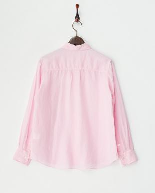 ピンク  麻レーヨン製品染めシャツ見る