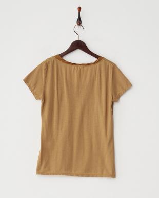 キャメル キュプラドッキング製品染めTシャツ見る