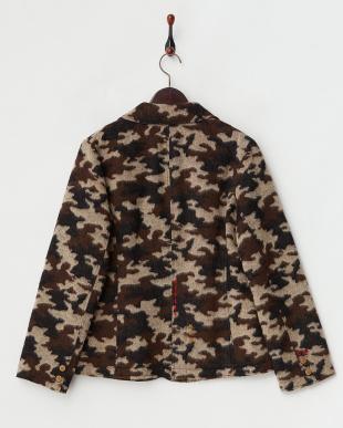 ブラウン  中綿入りカモフラージュジャケット|WOMEN見る
