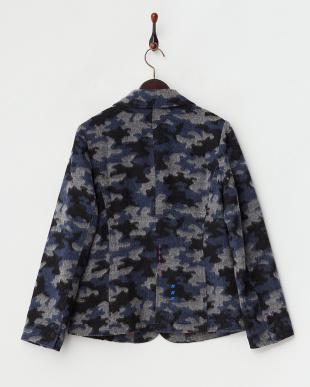 ネイビー  中綿入りカモフラージュジャケット|WOMEN見る