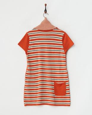 オレンジ  スヌード付き ニットワンピース|WOMEN見る