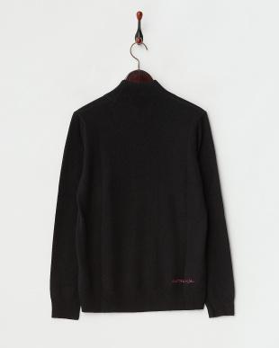 ブラック  シルク×カシミヤ ボトルネックセーター|WOMEN見る