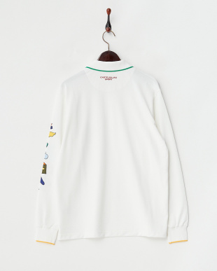 ホワイト  プリント長袖ポロシャツ|MEN見る