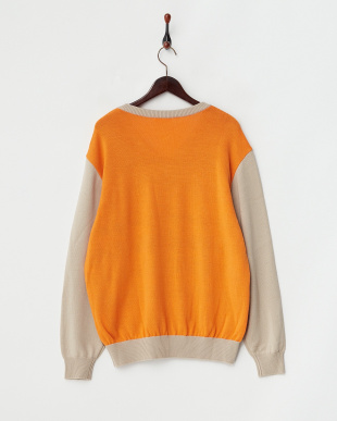 サンドベージュ  ブークレー千鳥 配色セーター|MEN見る