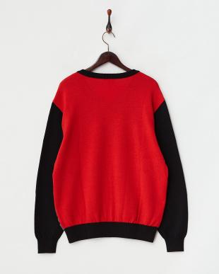 ブラック  ブークレー千鳥 配色セーター|MEN見る