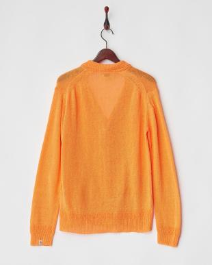 オレンジ リネンニットジャケット見る