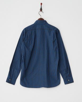 ブルー 100/2チェックボタンダウンシャツ見る