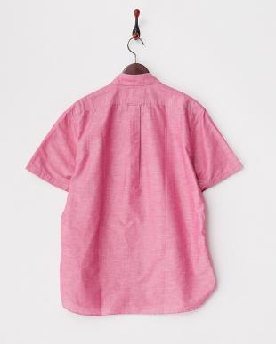 ピンク  綿麻レギュラーシャツ半袖 1/2見る