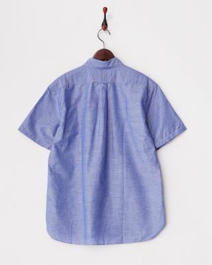 ブルー  綿麻レギュラーシャツ半袖 1/2見る