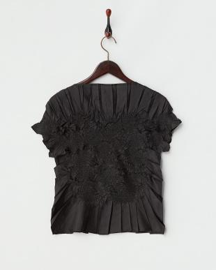 ブラック  Gプリーツフレンチ袖ブラウス見る