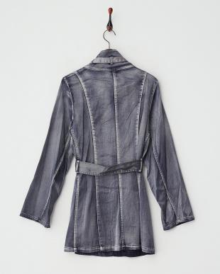 インディゴブルー系  ウォッシュ&ブラッシュ ベルテッドスタンド衿コート見る