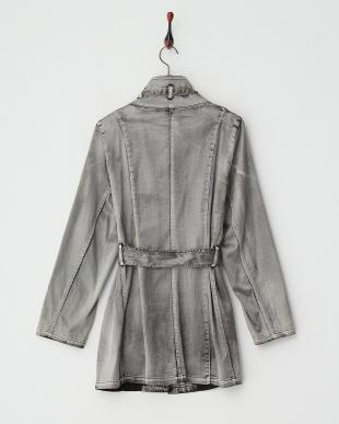 ブラック系  ウォッシュ&ブラッシュ ベルテッドスタンド衿コート見る