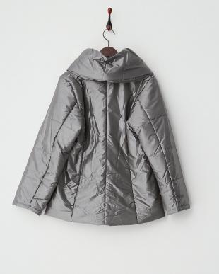 シャンブレーグレー ダブルブレスト ギャザー衿中綿コート見る