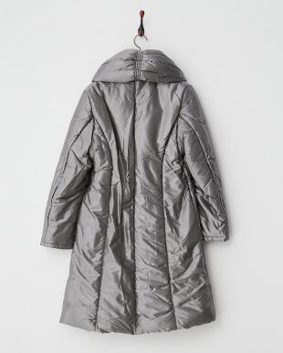 シャンブレーグレー  ボリューム衿 シャーリング中綿コート見る