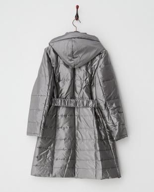 シャンブレーグレー  キルティング中綿フーディ ベルト付きロングコート見る
