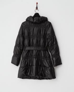 ブラック  Wカラー ゴムシャーリング中綿コート見る