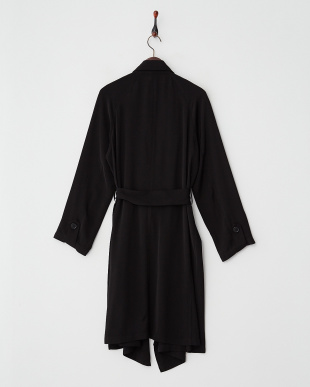 ブラック ドレープトレンチ ロングコート見る