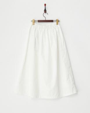 ホワイト  タフタギャザースカート見る