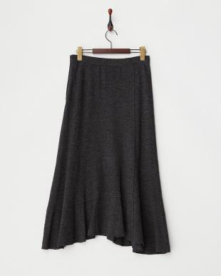 チャコールグレー  フレアヘム圧縮ウール風スカート見る