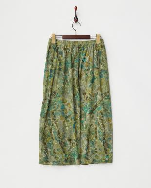 グリーン  プリントメッシュ風スカート見る