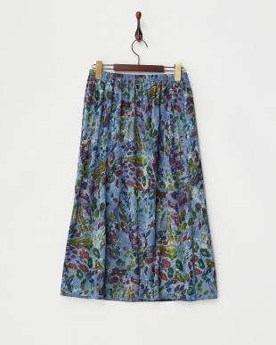 ブルー  プリントメッシュ風スカート見る