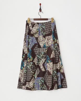 ブラウン  エスニックプリントスカート見る