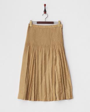 キャメル フェイクスウェードプリーツスカート見る