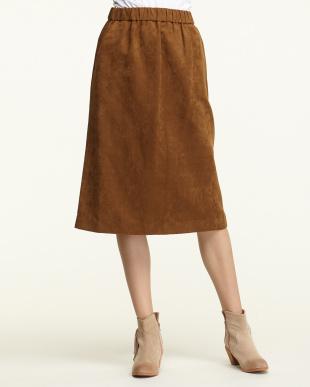 ブラウン フェイクスェードタイトスカート見る