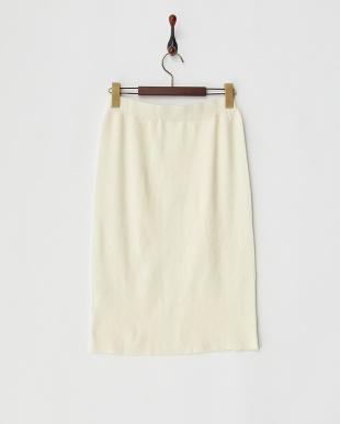 アイボリー ウール混ニットスカート見る