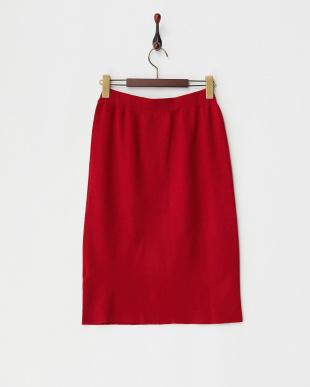 レッド ウール混ニットスカート見る