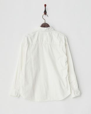 オフホワイトステッチ装飾コットンシャツ見る