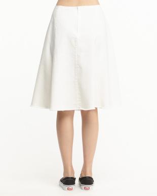ホワイト C/Tenストレッチデニム フレアスカート見る