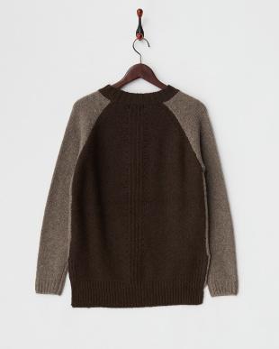 ベージュ×ブラウン  配色ラグランデザインセーター見る