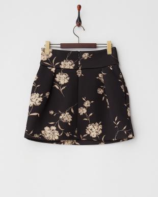 ブラック系 フラワーボンディングスカート見る