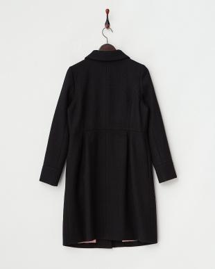 ブラック  ステンカラー 切替ウールコート見る