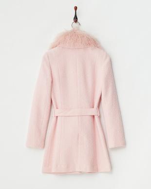 ピンク ツイードウールコート見る