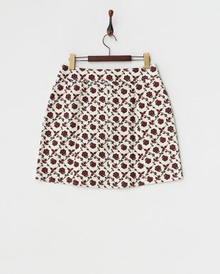 ブラック  前ボタン花柄スカート見る