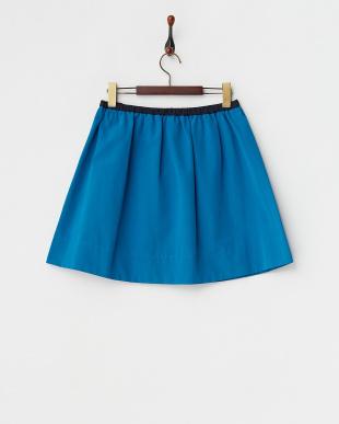 ブルー ウエスト配色切り替えスカート見る