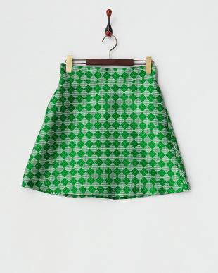 グリーン ダイヤ&千鳥柄スカート見る
