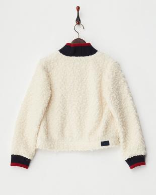 ホワイト インレイ編みシャギージャケット見る