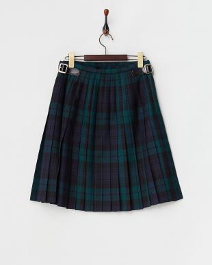 ブラック×グリーン  キルト ラップスカート見る